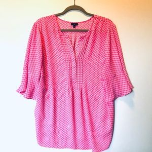Talbots 2X Pink and White 3/4 Sleeve Blouse